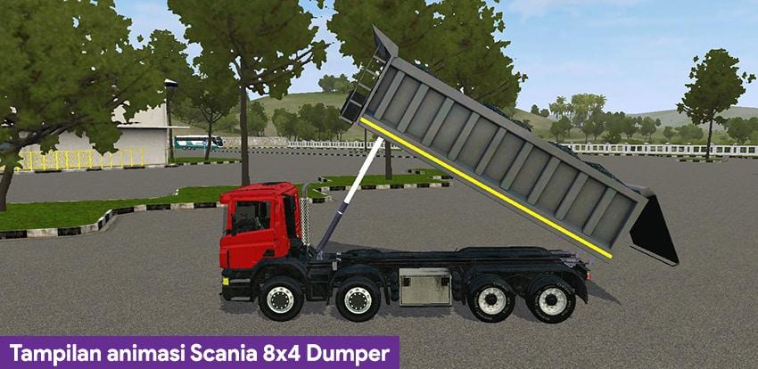 Tampilan animasi Scania 8x4 Dumper